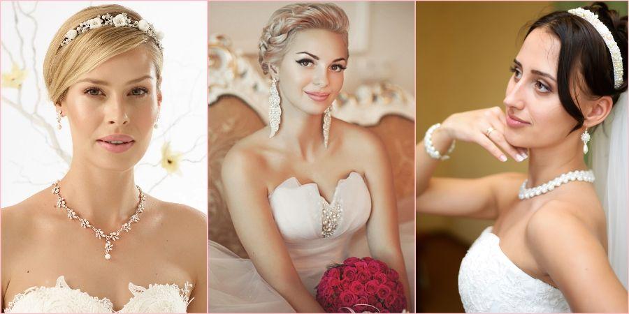 Колье из жемчуга и изящные сережки на свадьбу
