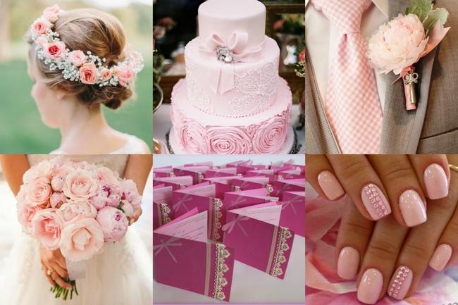 вариант торта на свадьбу в розовом цвете
