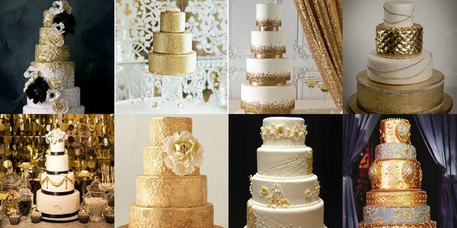 интересные торты на свадьбу золотого цвета