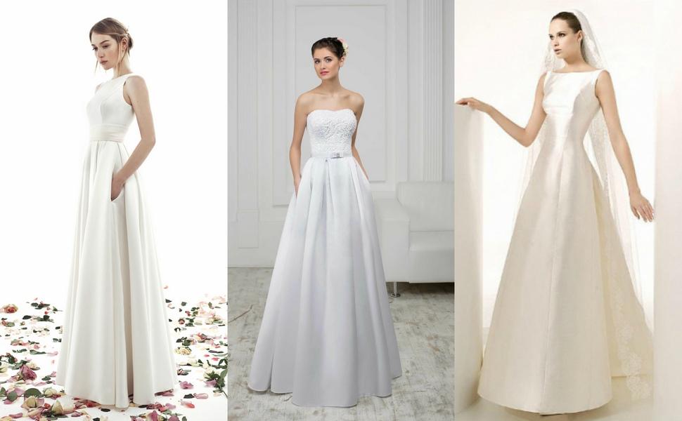 Примеры атласных свадебных платьев А-силуэта