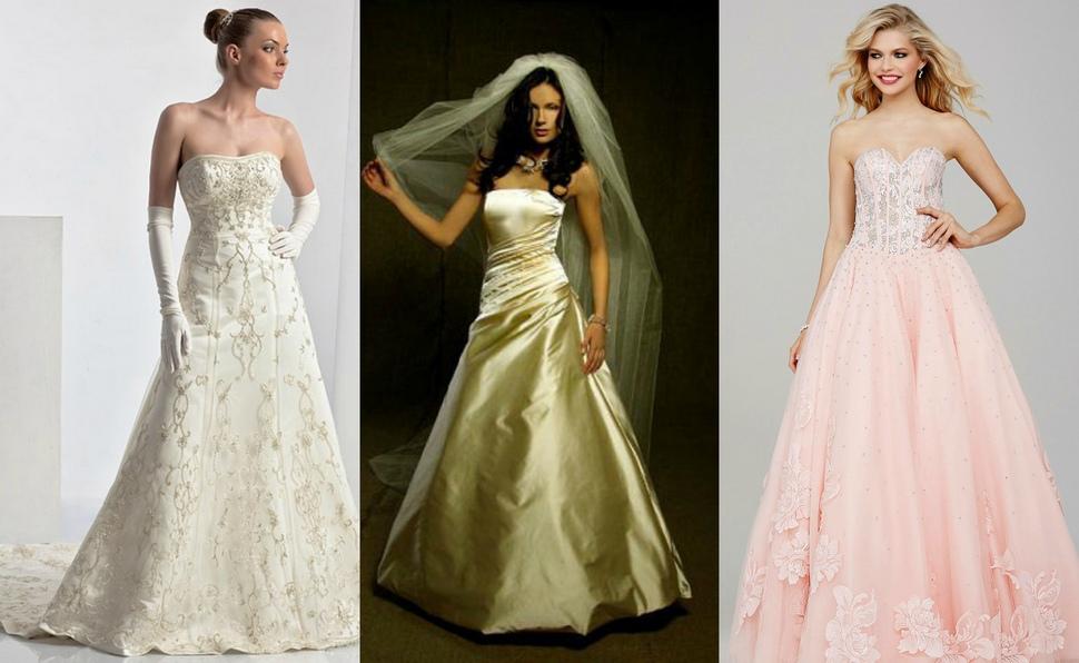 Различные цвета свадебных платьев А-силуэта