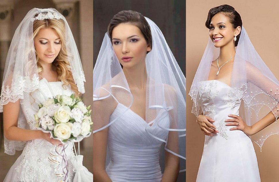 Вариации фаты свадебной из фатина