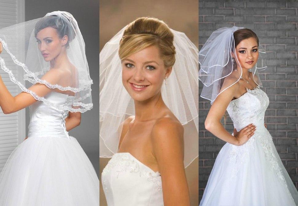 Короткая фата свадебная для невесты