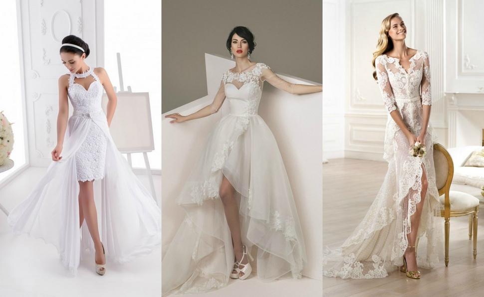 Комбинированные свадебные платья дополненные кружевом