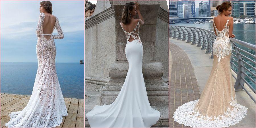 Грациозно выглядит открытая спина на невесте