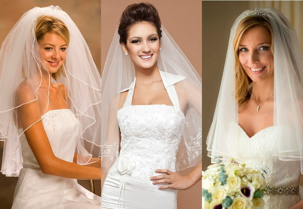 Универсальный вариант свадебной фаты до локтя