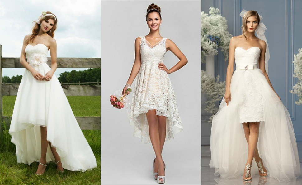 Свадебное платье спереди короткое сзади длинное прямое
