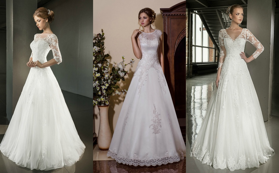 Романтичные свадебные кружевные наряды А-силуэта