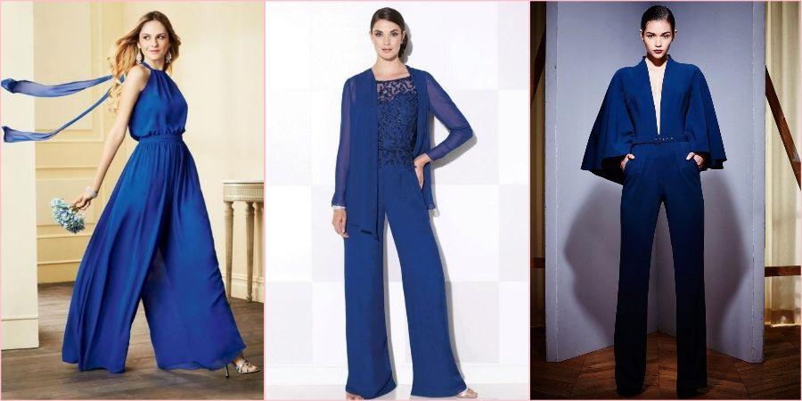 Синие костюмчики для женщин на свадебное торжество