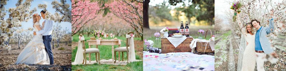 Идеи для свадебной фотосессии весной в саду