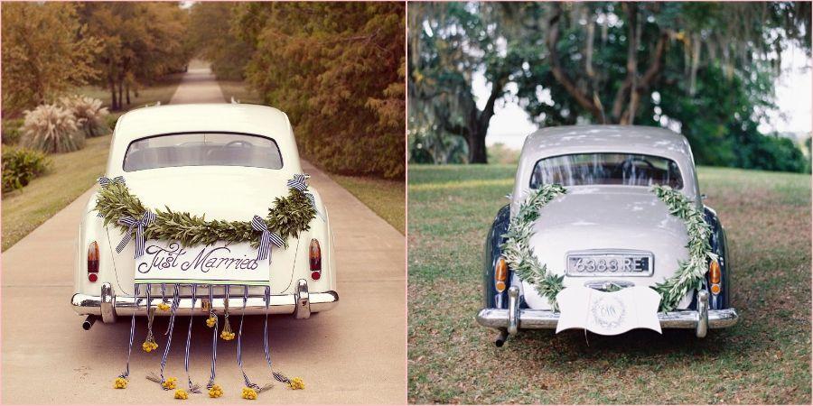 Автомобили украшены цветами
