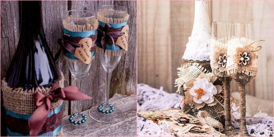 Бутылка шампанского и фужеры на свадебный день