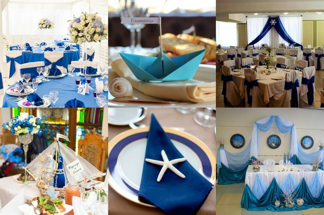 Оформление банкетного зала свадьбы в морском стиле