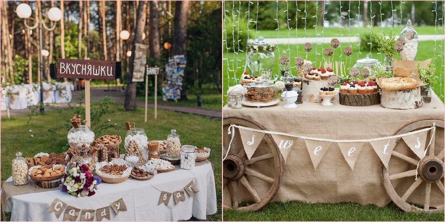 Модная тенденция делать сладкие столы на свадьбе