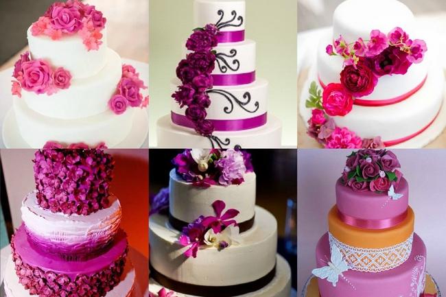 Торт на свадьбу в пурпурных тонах