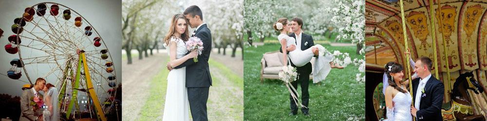 Весенняя свадебная фотосессия в парке аттракционов