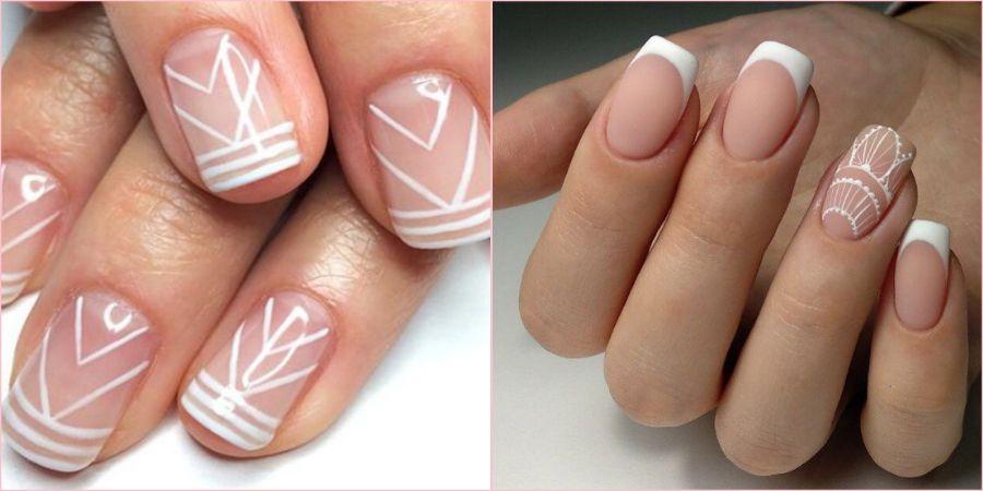 Дизайн ногтей в виде белого классического френча