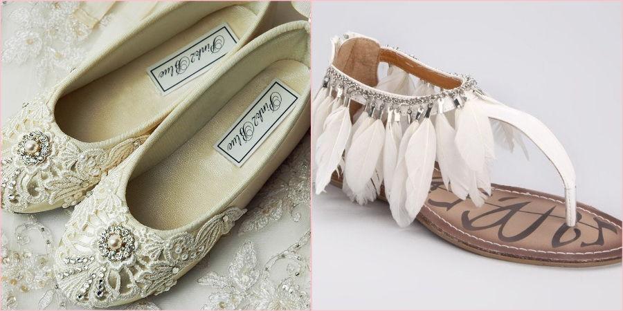 Экстравагантные балетки и босоножки на свадьбу