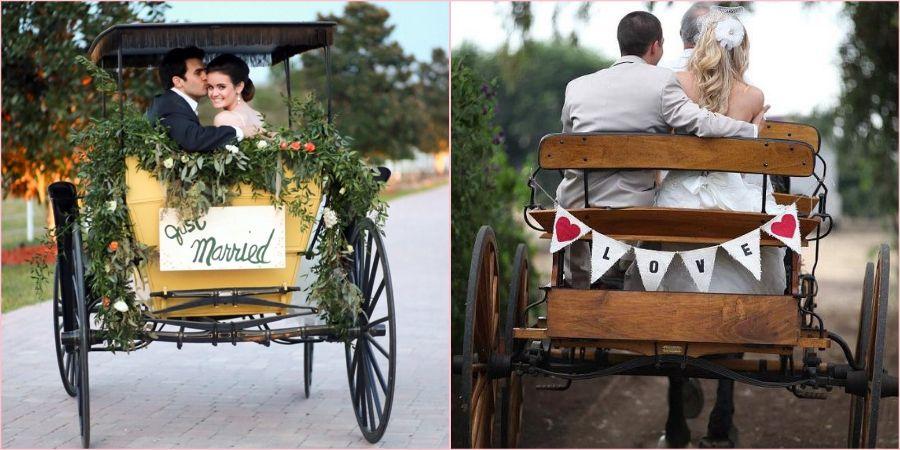 Повозка для жениха и невесты будет выглядеть оригинально