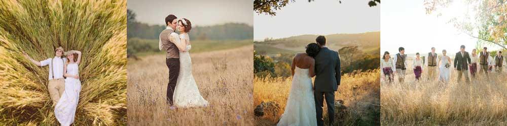 Варианты свадебной фотосессии осенью в поле