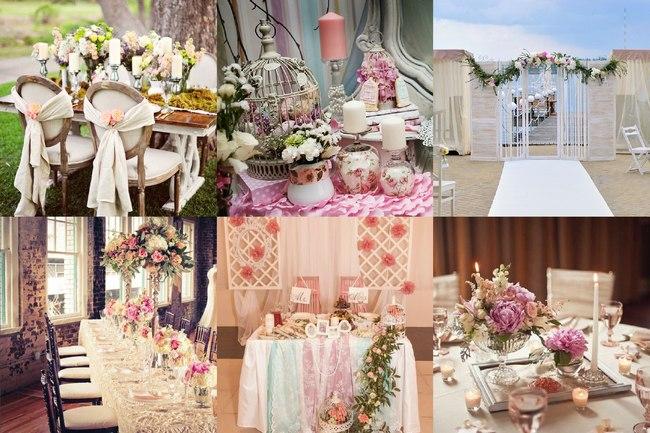 Украшение и декор свадьбы стиля шебби шик