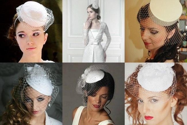 Шляпки таблетки с вуалеткой на свадьбу невесте