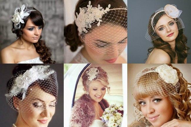 Украшение на голову невесты вуалетка на ободке