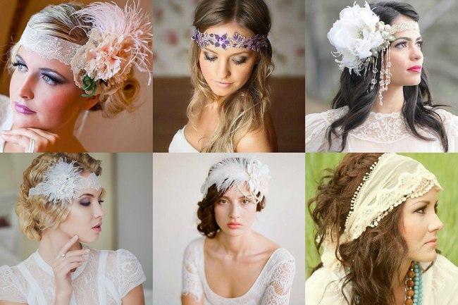 Невесты в повязках на лоб на свадьбу