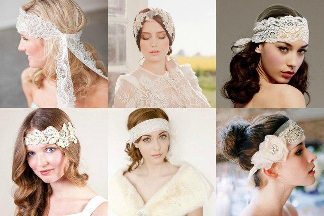 Свадебные повязки на лоб из ткани