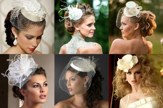 Свадебная прическа невесты со шляпкой