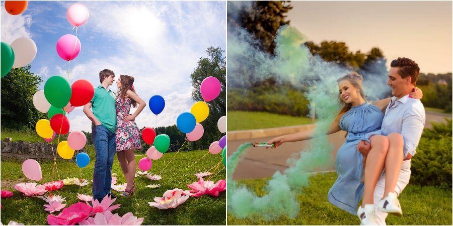 Шарики и цветной дым отличное решение для декора
