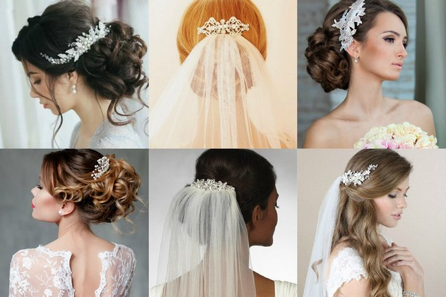Гребень в волосах невесты на свадьбу