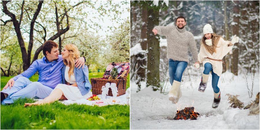 На пикнике в лесу романтично