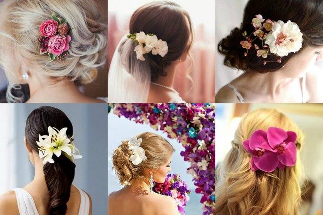 Невесты в заколках из живых цветов на свадьбу