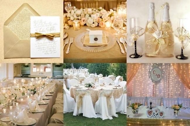 Фото оформления свадьбы в цвете шампань