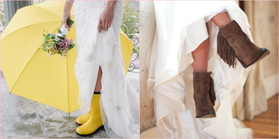 На тематическую свадьбу подойдут ковбойские или резиновые сапоги