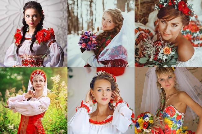 Букетик и украшения невесты в русском стиле