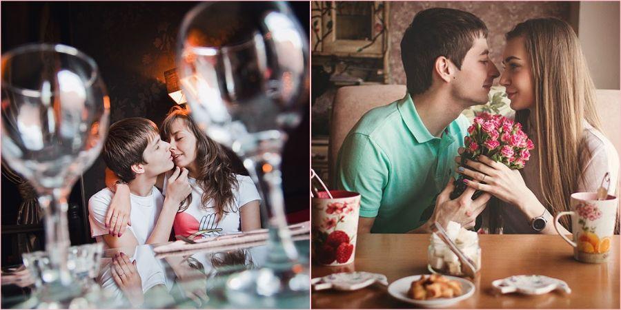 Кафе замечательное место для влюбленной пары