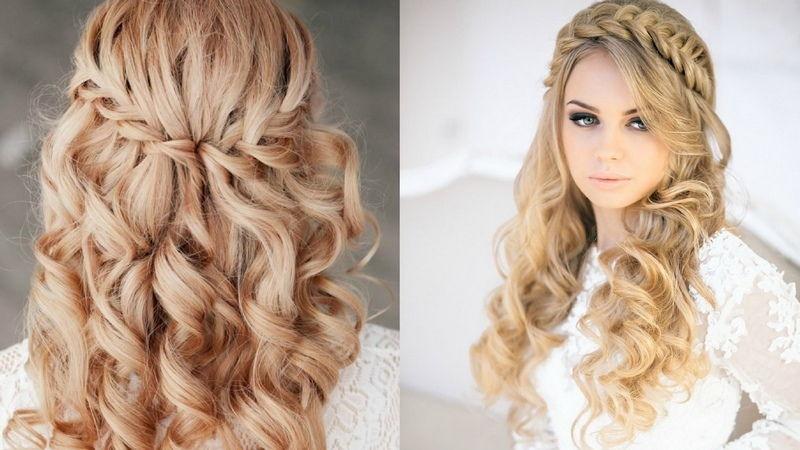 Плетения в распущенных волосах