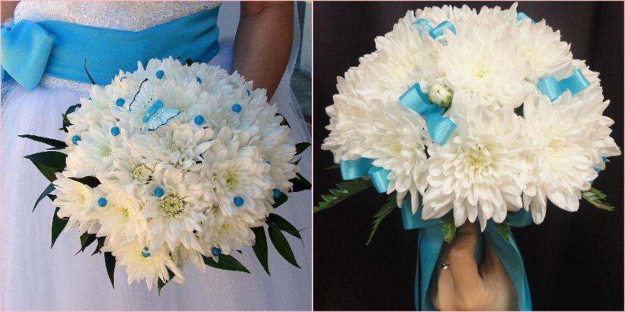 Из хризантем получится достойная свадебная композиция