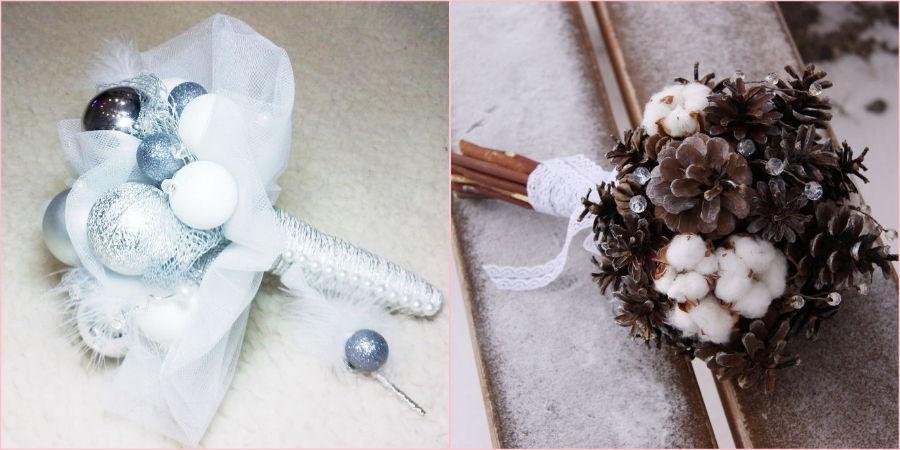 Замените живые растения на шишки и елочные игрушки