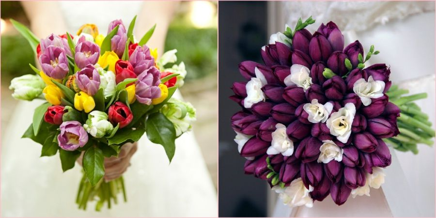 Тюльпаны великолепно смотрятся на свадебном торжестве