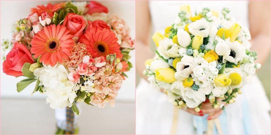 Нежные варианты из цветов на весенний сезон