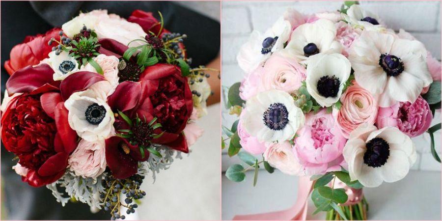 Анемоны интересно выглядят в руках невесты