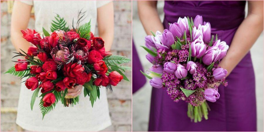 Весной магазины переполнены тюльпанами