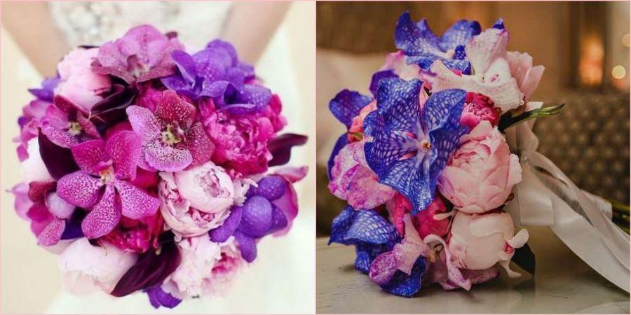 Орхидеи в руках новобрачной выглядят шикарно