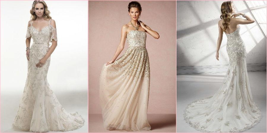 Модные платья на свадьбу со стразами