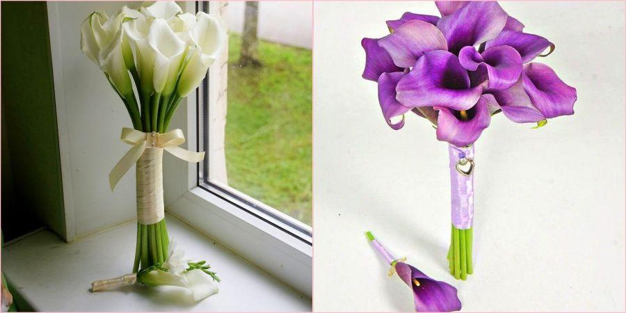 Монобукет из белых и фиолетовых цветов