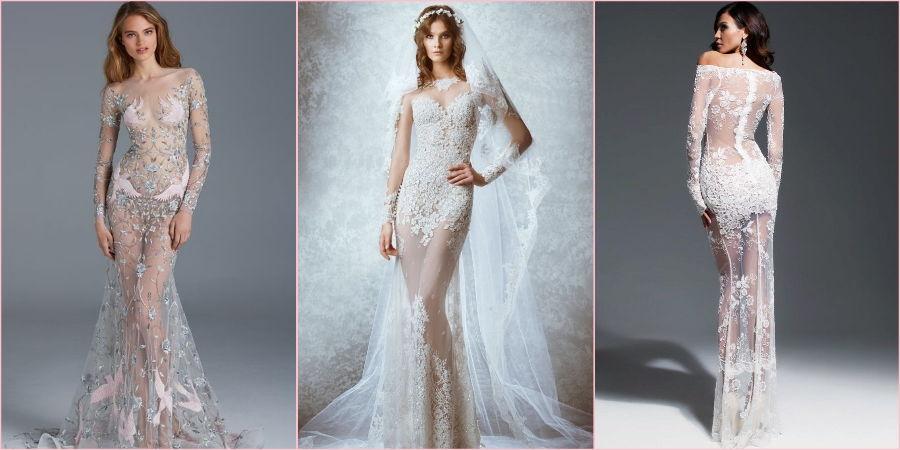 Свадебные модели прикрыты только кружевом