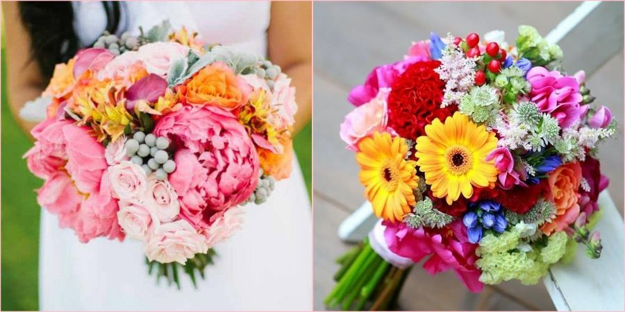 Сезонные цветы это пионы и герберы